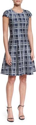 Armani Collezioni Cap-Sleeve Linen-Blend A-Line Dress, Astral Multi $1,495 thestylecure.com