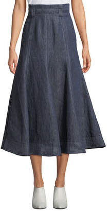 Gabriela Hearst Wytte High-Waist A-Line Ankle-Length Linen Skirt