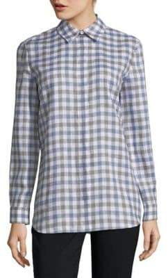 Lafayette 148 New York Brody Gingham Linen Blouse