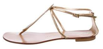 Giuseppe Zanotti Metallic Leather Thong Sandals