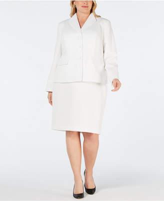 Le Suit Plus Size 3-Button Textured Skirt Suit