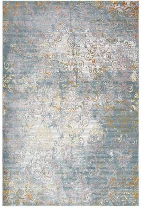 Blue Area Rizzy Home Princeton Distressed Scroll Vine Rug