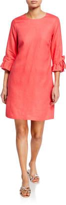 Neiman Marcus Ruffle 3\/4-Sleeve Linen Shift Dress