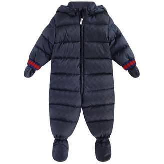 Gucci GUCCIBaby Boys Navy GG Jacquard Padded Snowsuit
