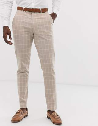 1ff5e893aa28 Asos Design DESIGN skinny suit trousers in camel linen windowpane check