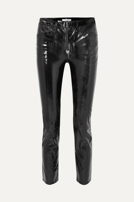 Frame Slick Cropped Patent-leather High-rise Slim-leg Pants - Black