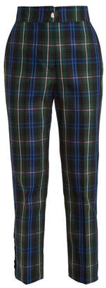 MSGM Cropped Tartan Cotton Blend Trousers - Womens - Green Multi