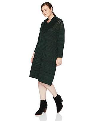 Sandra Darren Women's 1 PC Plus Size Long Sleeve A Line Cowl Neck Sweater Dress