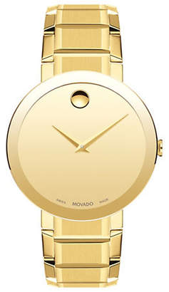 Movado Sapphire Yellow Gold PVD Stainless Steel Link Bracelet Watch