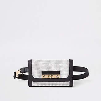 River Island Black buckle belt bum bag
