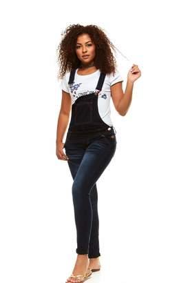 V.I.P.JEANS Casual Blue Jean Bib Strap Pocket Overalls for Women Ankle Length Slim Fit Junior Size Whisker Dark Wash