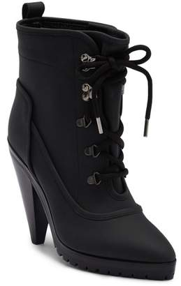 Veronica Beard Charley Coated Leather Lace-Up Bootie