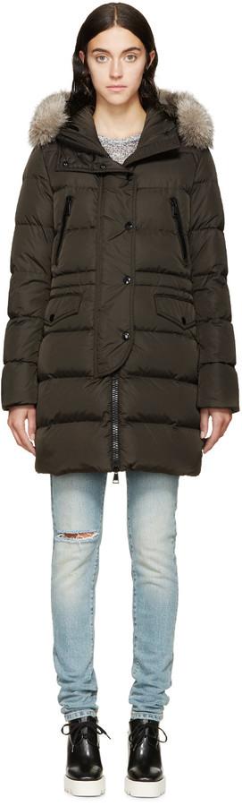Moncler Olive Fur & Down Fragonette Coat