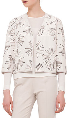 Akris punto 3/4-Sleeve Matchstick Reversible Jacket, Canvas $1,390 thestylecure.com