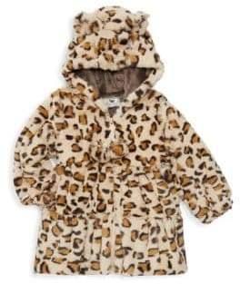Baby Girl's Faux Fur Leopard Swing Coat
