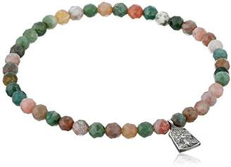 Satya Jewelry Fancy Jasper Sterling Silver Mini Tree of Life Stretch Bracelet