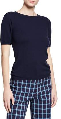 Escada Wool-Cashmere Short-Sleeve Pullover Sweater