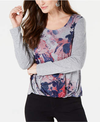 Style&Co. Style & Co Printed Bubble-Hem Top, Created for Macy's