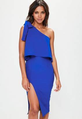 Missguided Blue Crepe One Shoulder Bow Sleeve Midi Dress, Cobalt Blue