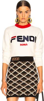 Fendi Mania Logo Cropped Sweater