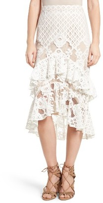 Women's Chelsea28 Tiered Lace Midi Skirt $99 thestylecure.com