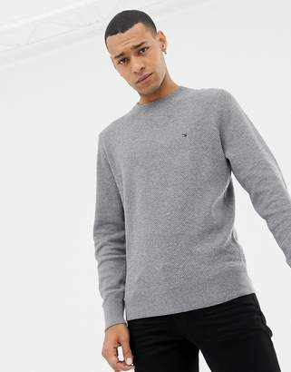 Tommy Hilfiger cotton mesh textured crew neck knit sweater icon logo in charcoal marl