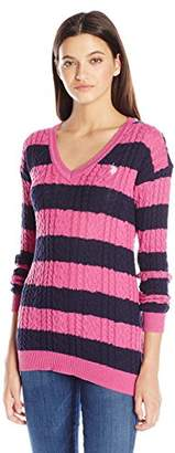 U.S. Polo Assn. Juniors Stripe V-Neck Cable Knit Sweater
