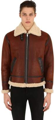 The Kooples Shearling Jacket W/ High Collar