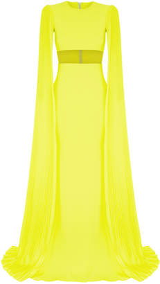 Raina Alex Perry Sheer Long Sleeve Gown