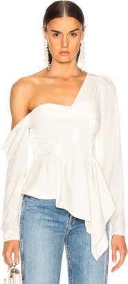 62a49765f1520d Self-Portrait Self Portrait Asymmetric Velvet Top in Cream | FWRD