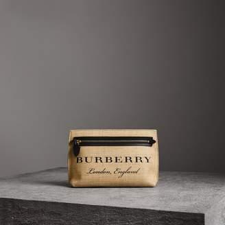 Burberry Logo Print Jute Wristlet Clutch