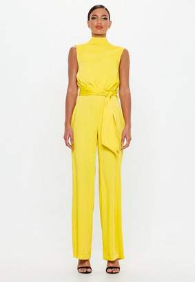 Missguided Yellow Satin High Neck Belted Romper