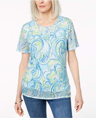 Alfred Dunner Embellished Eyelet-Contrast T-Shirt