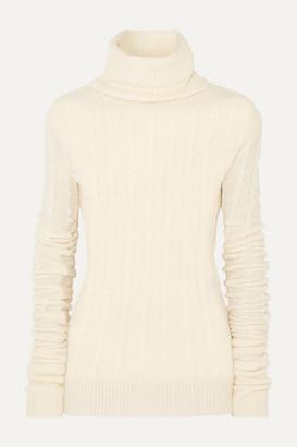 Jacquemus Sofia Cable-knit Alpaca-blend Turtleneck Sweater - White