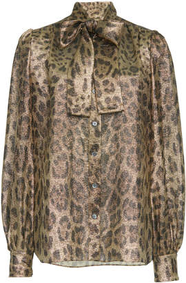 Dolce & Gabbana Leopard Print Pussy-Bow Blouse