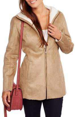 Faded Glory Women's Faux Suede Shearling Coat--You Won't Believe How Soft This Coat Is!