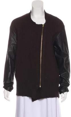 By Malene Birger Wool-Blend Leather-Accented Cardigan