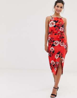 Oasis midi skirt with side split in floral print