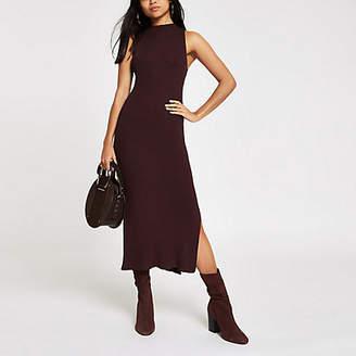 River Island Womens Petite Brown knit sleeveless midi dress