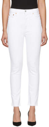 RE/DONE White Originals High-Rise Ankle Crop Jeans