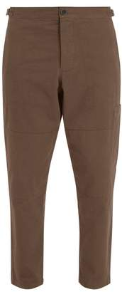 Oliver Spencer - Judo Tapered Leg Cropped Cotton Twill Trousers - Mens - Brown