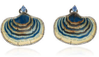 Silvia Furmanovich Sculptural Botanical Marquetry Blue Mushroom Earrings With Light Brown Diamonds And Blue Sapphire