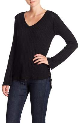Michael Stars Laced Side V-Neck Long Sleeve Tee