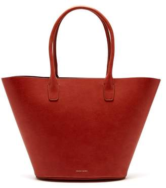 Mansur Gavriel Triangle Leather Tote - Womens - Dark Orange