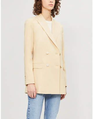 Theory Women's Beige Double-Breasted Wool Blend Blazer