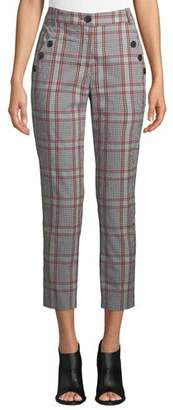 Veronica Beard Farrow Button-Detail Plaid Pants
