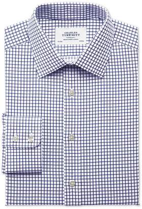 Charles Tyrwhitt Extra Slim Fit Twill Grid Check Navy Cotton Dress Shirt Single Cuff Size 15.5/32