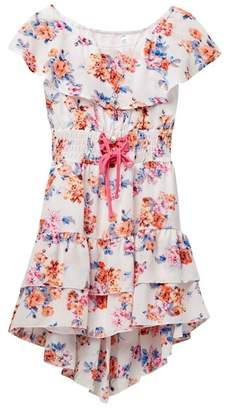 Beautees Ruffle Neck Hi-Lo Dress with Necklace (Big Girls)