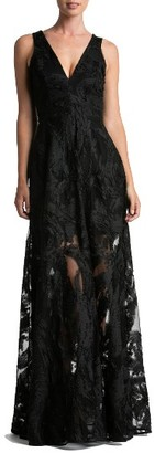 Women's Dress The Population Marlene Plunging Embroidered Mesh Maxi Dress $298 thestylecure.com