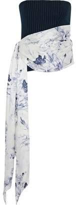 Cinq à Sept Wyatt Strapless Silk Satin-Paneled Printed Cady Top